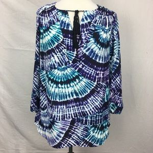 Zac & Rachel Blue/Purple Tie Dye Blouse